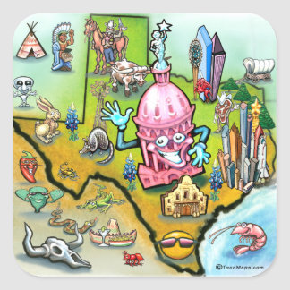 Austin Texas Cartoon Map Square Sticker
