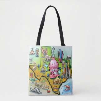 Austin Texas cartoon map Tote Bag