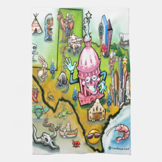 Austin Texas Cartoon Map Towels