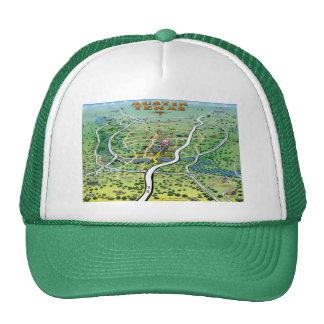 Austin Texas Cartoon Map Trucker Hat