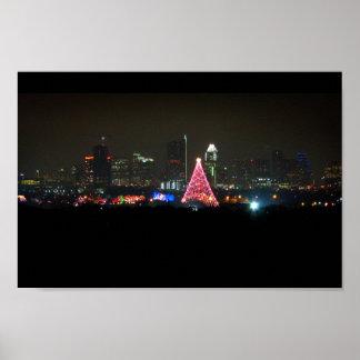 Austin Texas Christmas Trail of Lights Skyline Poster