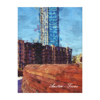Austin, Texas City Scene by Pfluger Bridge Stretched Canvas Print