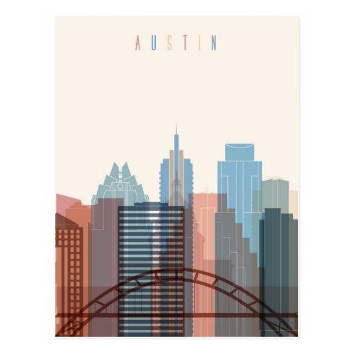 Austin Texas  City Skyline Postcard
