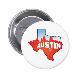 Austin Texas Cityscape Pinback Button