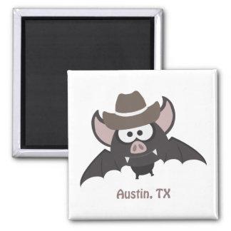 Austin, Texas - Cowboy bat 2 Inch Square Magnet