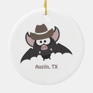 Austin, Texas - Cowboy bat Ceramic Ornament