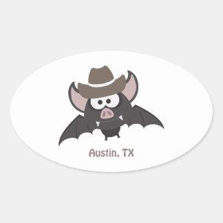 Austin, Texas - Cowboy bat Oval Sticker