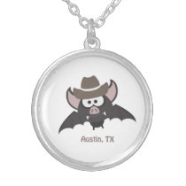 Austin, Texas - Cowboy bat Silver Plated Necklace