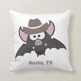 Austin, Texas - Cowboy bat Throw Pillow
