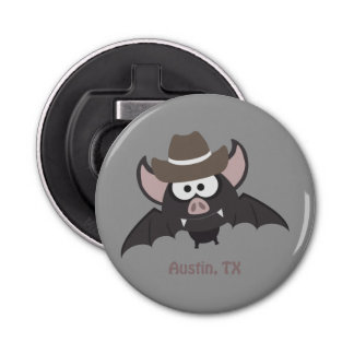 Austin, Texas - Cowboy bat Button Bottle Opener
