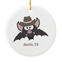Austin Texas Cute Cartoon Cowboy Bat Ceramic Ornament