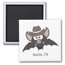Austin Texas Cute Cartoon Cowboy Bat Magnet