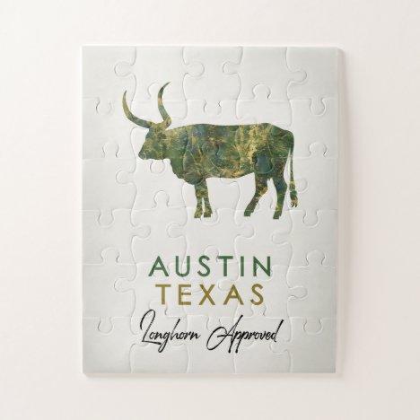 Austin Texas Dark Marble Jigsaw Puzzle