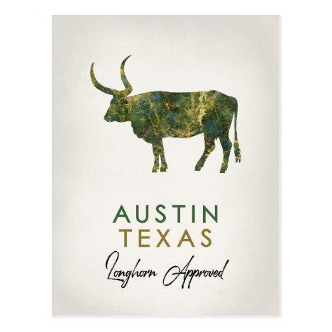 Austin Texas Dark Marble Postcard