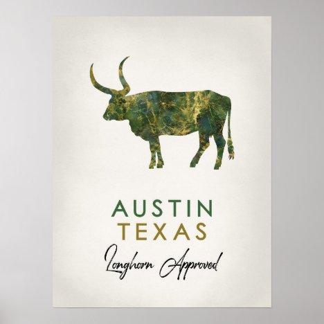 Austin Texas Dark Marble Poster