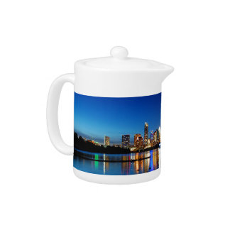 Austin Texas Downtown Night Skyline Ladybird Lake Teapot