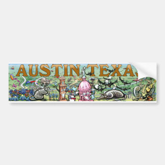 Austin Texas Fun Map Bumper Sticker