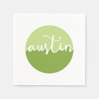 Austin, Texas | Green Ombre Circle Napkin