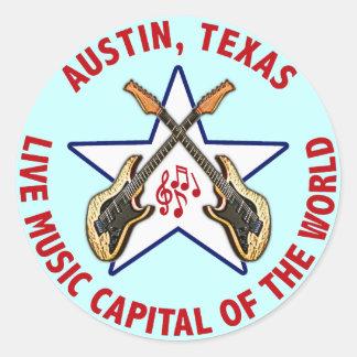 Austin, Texas Live Music Capital of the World Classic Round Sticker