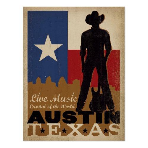 Austin Texas  Live Music Cowboy Postcard