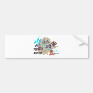 Austin Texas Map Bumper Sticker