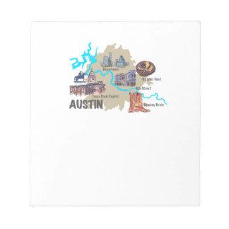 Austin Texas Map Notepad