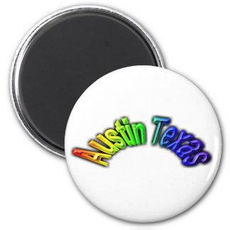 Austin Texas Popular Rainbow Design Magnet