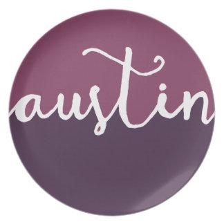 Austin, Texas | Purple Circle Ombre Melamine Plate