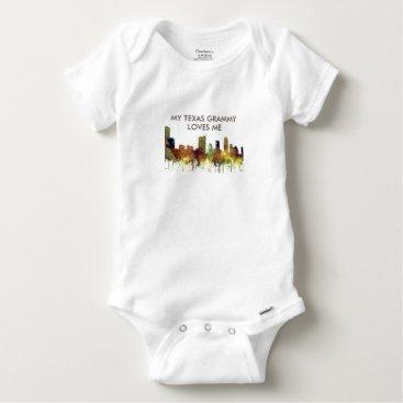 USA Themed Austin, Texas Skyline - Safari Buff Baby Onesie
