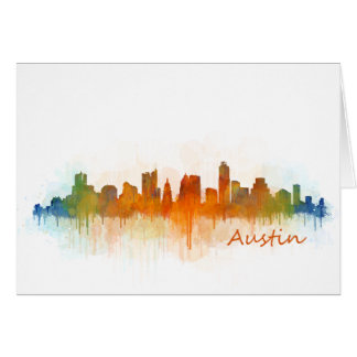 Austin Texas skyline Watercolor v3 Card