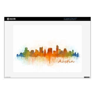 "Austin Texas skyline Watercolor v3 Decal For 15"" Laptop"