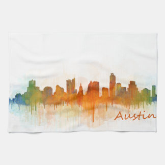 Austin Texas skyline Watercolor v3 Hand Towels