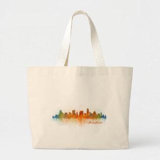 Austin Texas skyline Watercolor v3 Large Tote Bag