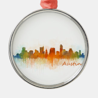 Austin Texas skyline Watercolor v3 Metal Ornament