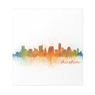 Austin Texas skyline Watercolor v3 Notepad