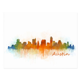 Austin Texas skyline Watercolor v3 Postcard