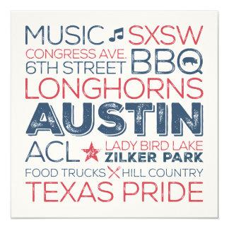 Austin Texas Subway Art Card - Blue and Red
