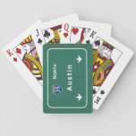 """Austin Texas tx Interstate Highway Freeway Road : Playing Cards<br><div class=""""desc"""">Austin Texas tx The IDEAL gift for anybody wanting a unique reminder of their favorite location! This familiar interstate sign design features the authentic and accurate typography officially used by the FHA/MUTCD. Our design also uses the exact same Pantone color specifications. Interstate : Highway : Freeway : Street : Road...</div>"""