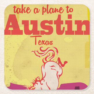 Austin Texas vintage travel poster Square Paper Coaster