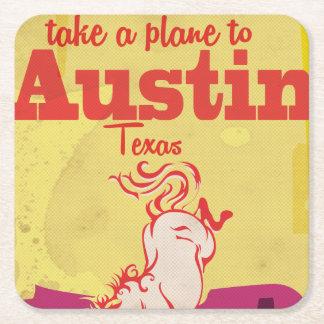 Austin Texas vintage travel poster Square Paper Coaster
