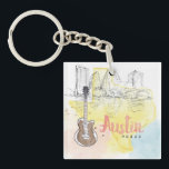 "Austin,Texas | Watercolor Sketch Keychain<br><div class=""desc"">&#169; Beth Grove / Wild Apple. State map of Texas with state and city of Austin icons</div>"