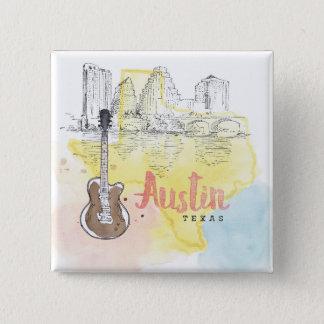 Austin,Texas | Watercolor Sketch Pinback Button