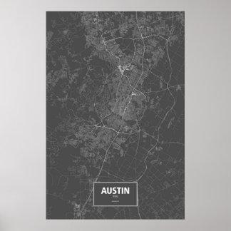 Austin, Texas (white on black) Poster