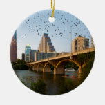 Austin, Texas with Bats Double-Sided Ceramic Round Christmas Ornament