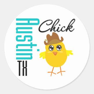Austin TX Chick-2 Etiquetas Redondas
