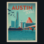 """Austin, TX - Congress Avenue Bridge Postcard<br><div class=""""desc"""">Anderson Design Group is an award-winning illustration and design firm in Nashville,  Tennessee. Founder Joel Anderson directs a team of talented artists to create original poster art that looks like classic vintage advertising prints from the 1920s to the 1960s.</div>"""