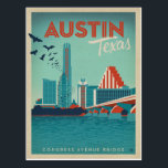 "Austin, TX - Congress Avenue Bridge Postcard<br><div class=""desc"">Anderson Design Group is an award-winning illustration and design firm in Nashville,  Tennessee. Founder Joel Anderson directs a team of talented artists to create original poster art that looks like classic vintage advertising prints from the 1920s to the 1960s.</div>"