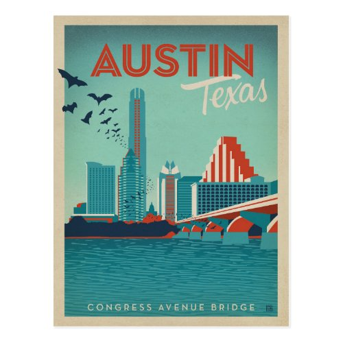 Austin TX _ Congress Avenue Bridge Postcard