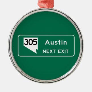 Austin, TX Road Sign Metal Ornament