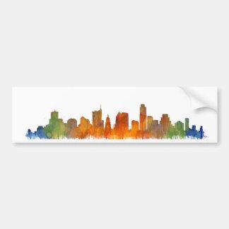 Austin watercolor Texas skyline v2 Bumper Sticker